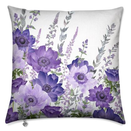 The Morning Anemone Patch Luxury Cushion (With Purple Back)