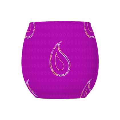 Paisley Drops on purple Glass Tealight Holder