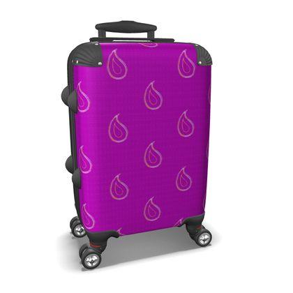 Paisley Drops on purple Suitcase