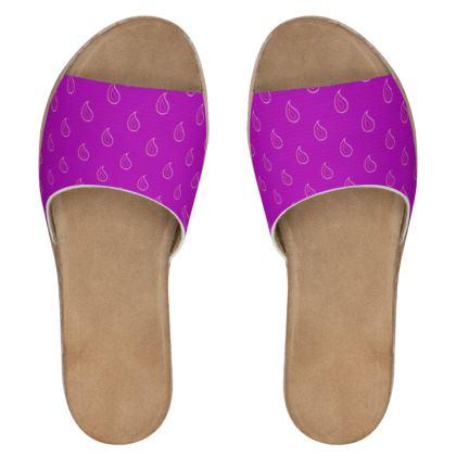 Paisley Drops on purple Womens Leather Sliders