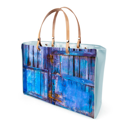 Blue wooden door Handbags