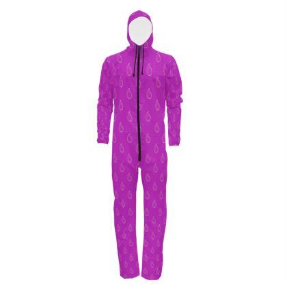 Paisley Drops on purple Hazmat Suit