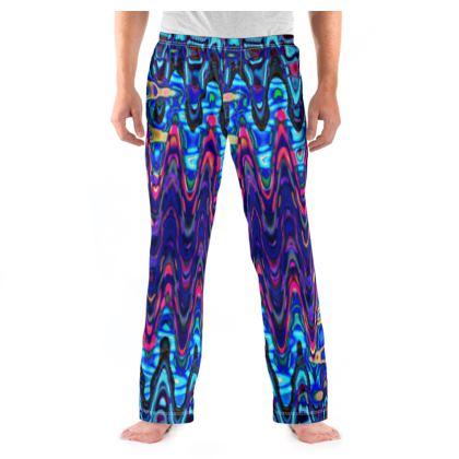 Mens Pyjama Bottoms Purple Splashes