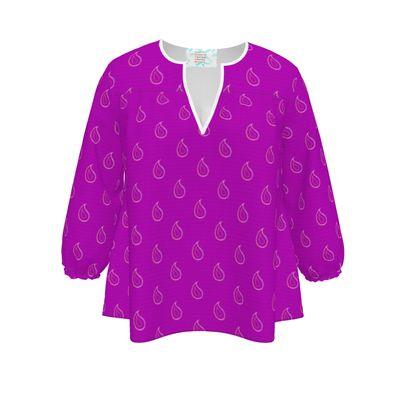Paisley Drops on purple Womens Blouse