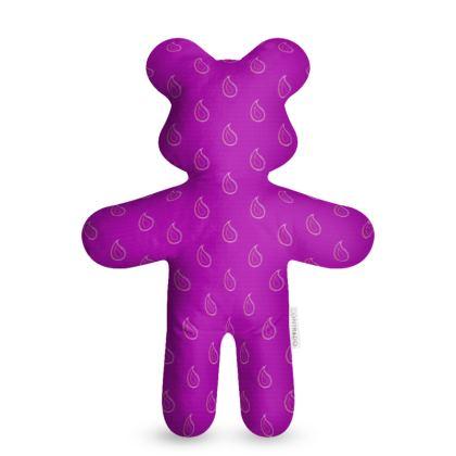 Paisley Drops on purple Teddy Bear