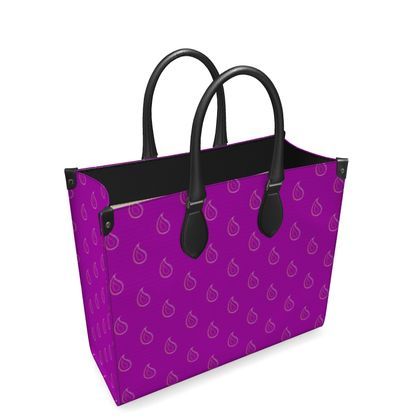 Paisley Drops on purple Leather Shopper Bag