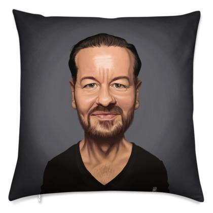 Ricky Gervais Celebrity Caricature Cushion
