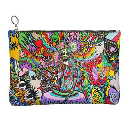 Pop Art Sweet Girl Leather Clutch bag