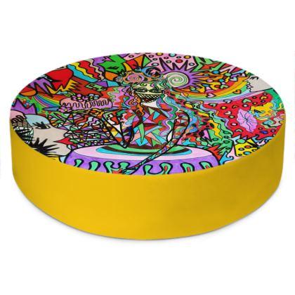 Pop Art Sweet Girl Round Floor Cushions by Azima