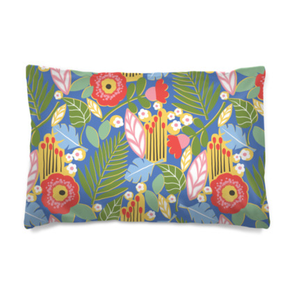Paradise House Tropical Floral Blue Pillow Case