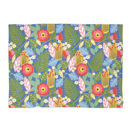 Paradise House Tropical Floral Blue Blanket