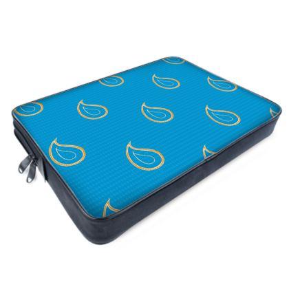 Paisley Drops on Petrol Blue Laptop Bags