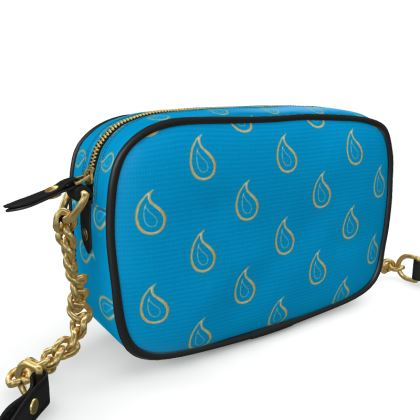 Paisley Drops on Petrol Blue Camera Bag