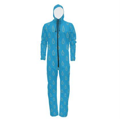 Paisley Drops on Petrol Blue Hazmat Suit