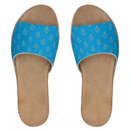 Paisley Drops on Petrol Blue Womens Leather Sliders