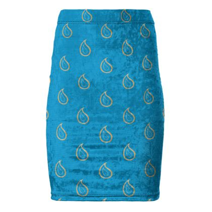Paisley Drops on Petrol Blue Pencil Skirt