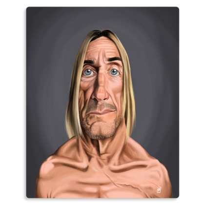 Iggy Pop Celebrity Caricature Metal Print