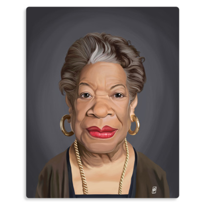 Maya Angelou Celebrity Caricature Metal Print