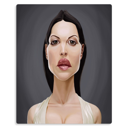 Monica Bellucci Celebrity Caricature Metal Print
