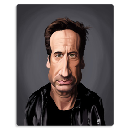 David Duchovny Celebrity Caricature Metal Print