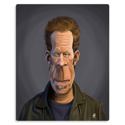 Tom Waits Celebrity Caricature Metal Print