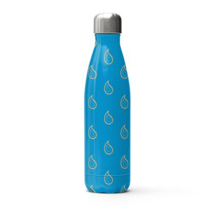 Paisley Drops on Petrol Blue Stainless Steel Thermal Bottle