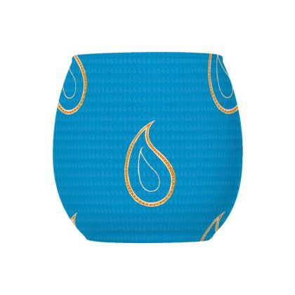 Paisley Drops on Petrol Blue Glass Tealight Holder