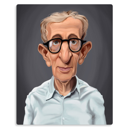 Woody Allen Celebrity Caricature Metal Print