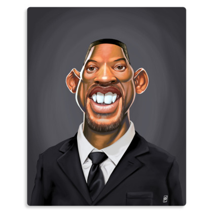 Will Smith Celebrity Caricature Metal Print