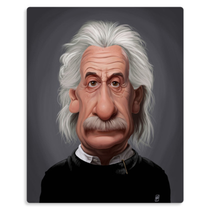 Albert Einstein Celebrity Caricature Metal Print
