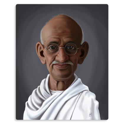 Mahatma Gandhi Celebrity Caricature Metal Print