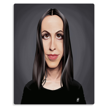 Alanis Morissette Celebrity Caricature Metal Print