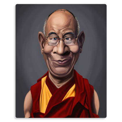Dalai Lama Celebrity Caricature Metal Print