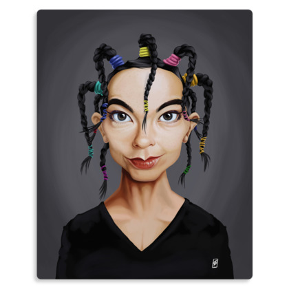 Björk Celebrity Caricature Metal Print