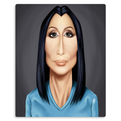 Cher Celebrity Caricature Metal Print