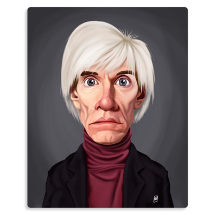 Andy Warhol Celebrity Caricature Metal Print