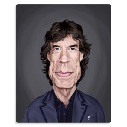 Mick Jagger Celebrity Caricature Metal Print