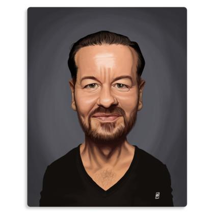 Ricky Gervais Celebrity Caricature Metal Print