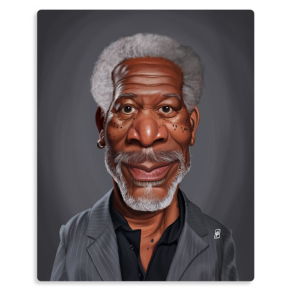 Morgan Freeman Celebrity Caricature Metal Print