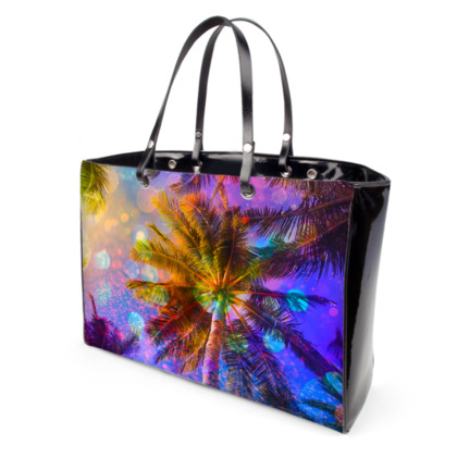 Colorful Palm trees Handbags