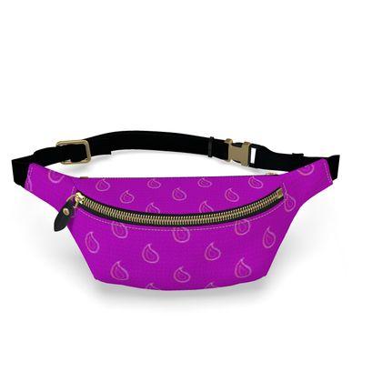 Paisley Drops On Purple Womens Bumbag