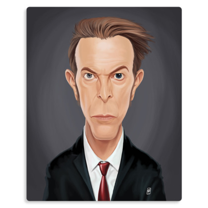 David Bowie Celebrity Caricature Metal Print