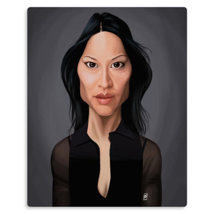 Lucy Liu Celebrity Caricature Metal Print