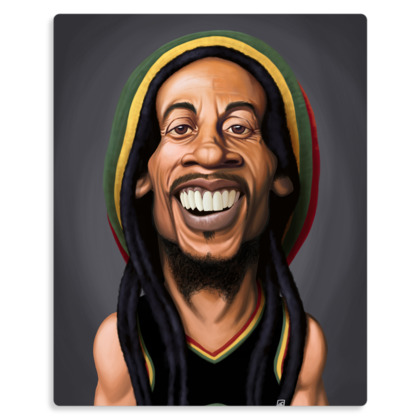 Bob Marley Celebrity Caricature Metal Print