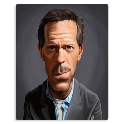 Hugh Laurie Celebrity Caricature Metal Print