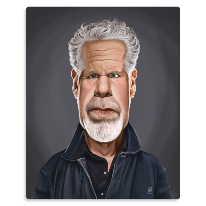 Ron Perlman Celebrity Caricature Metal Print