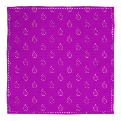 Paisley Drops on purple Bandana