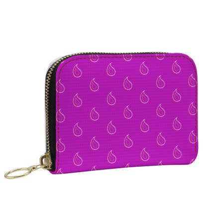 Paisley Drops on purple Small Leather Zip Purse