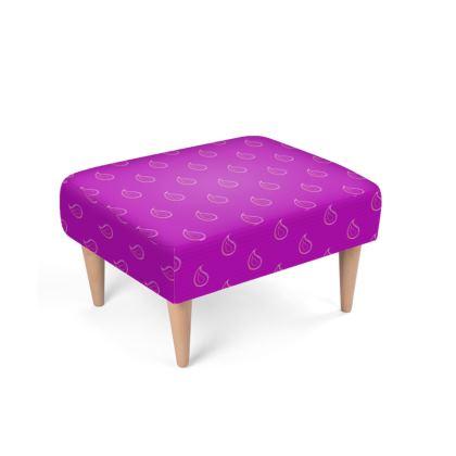 Paisley Drops on purple Footstool