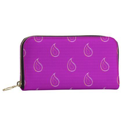 Paisley Drops on purple Leather Zip Purse